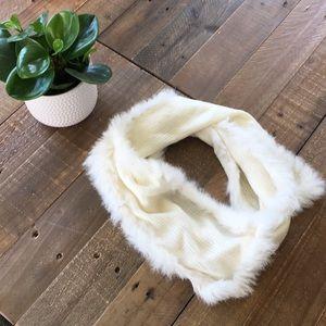 White Knit Fur Scarf